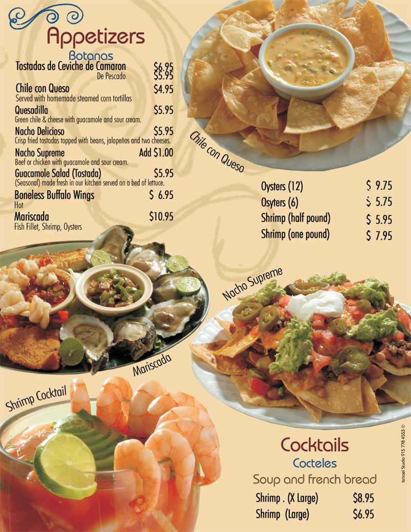 Se or fish appetizers cocktails for Senor fish menu