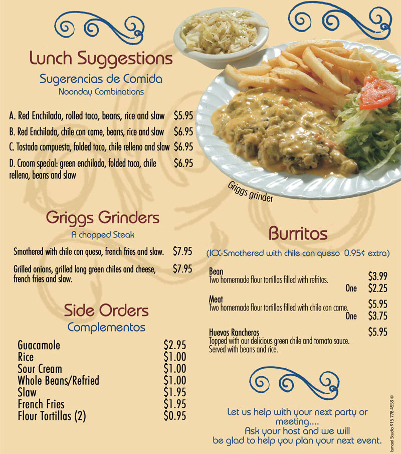 Se or fish lunch burritos for Senor fish menu