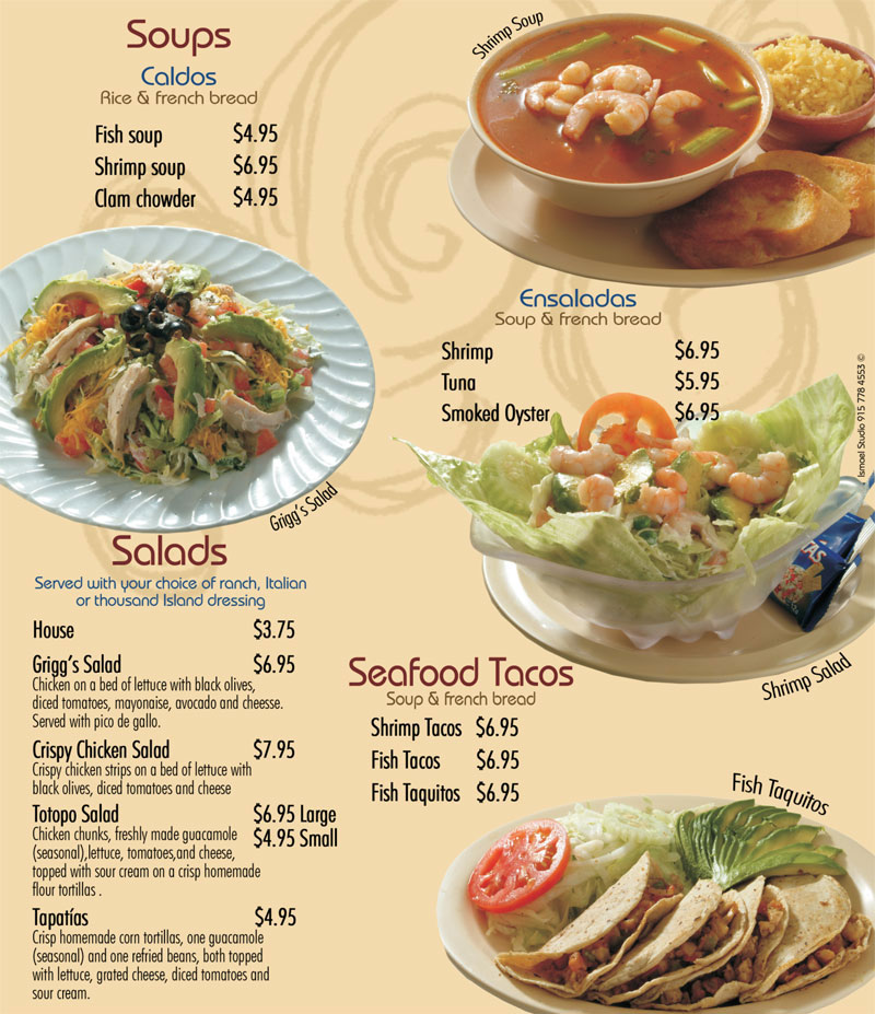 Se or fish soups salads for Senor fish menu