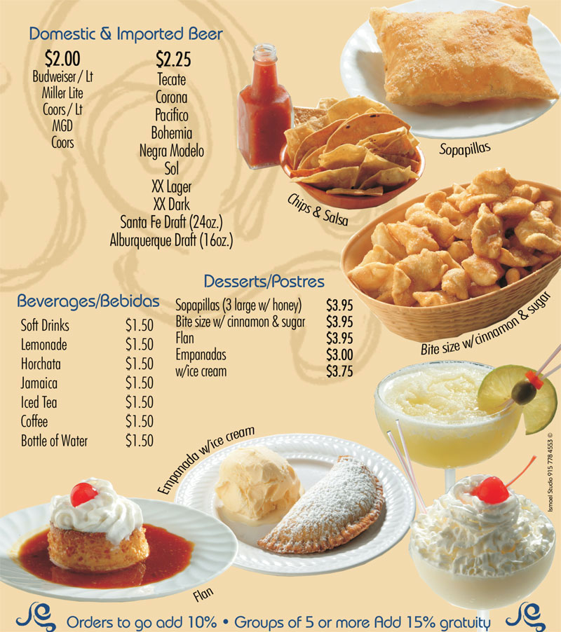 Se or fish beverages desserts for Senor fish menu