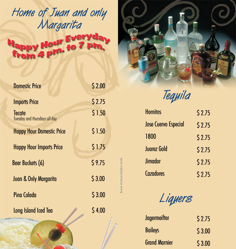 Se or fish liquor bar for Senor fish menu