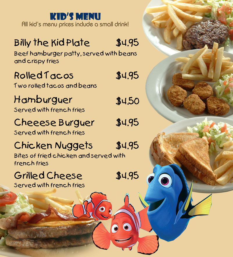 Se or fish kids menu for Senor fish menu